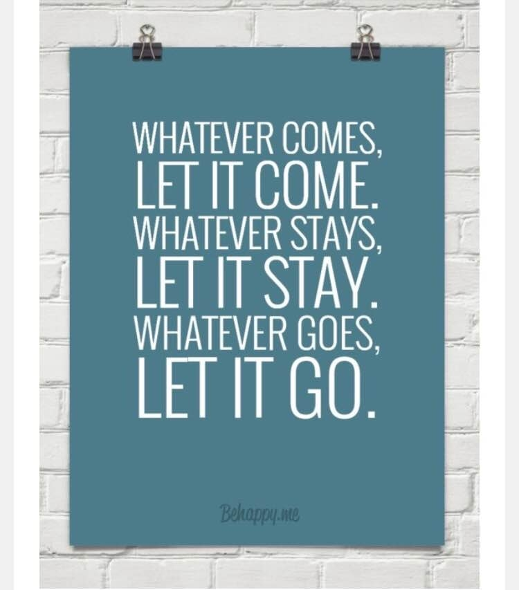 Whatever comes, let it come. Whatever stays, let it stay. Whatever goes, let it go!