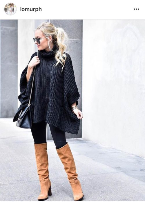 Boots, leggings and poncho outfit